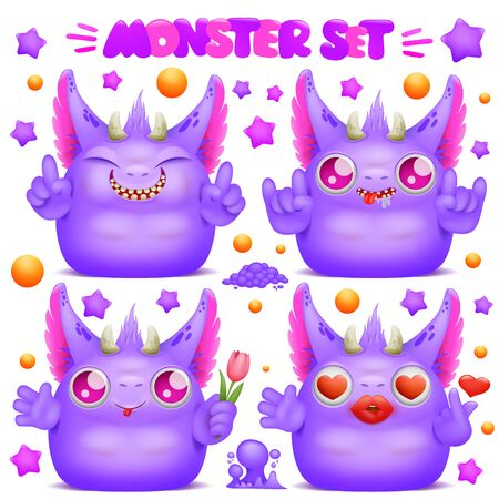 Cute purple emoji cartoon monster character. Vector collection Ilustrace