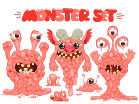 Brain alien monster cartoon characters collection for halloween design. Vector illustration