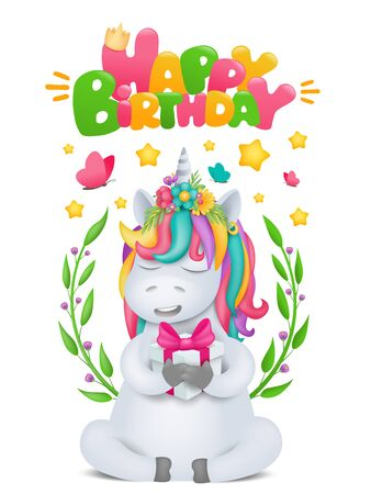 Cute rainbow cartoon unicorn character with gift box in hands. Birthday card template. Vector illustration