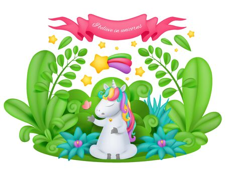 unicorn cartoon character siting in the magic garden. Vector illustration