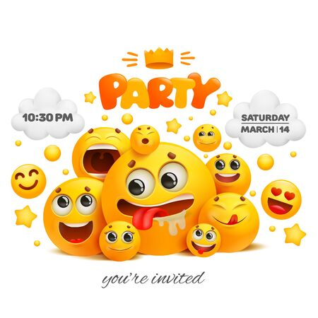 Party invitation card template with group of emoji characters. Vector illustration 일러스트