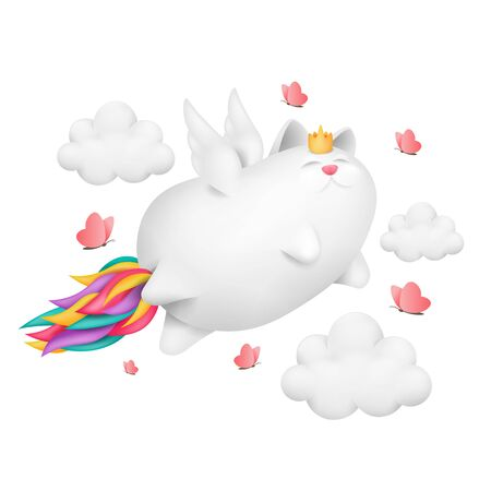 A funny unicorn cat with rainbow tail character fly across the sky. 3d vector illustration
