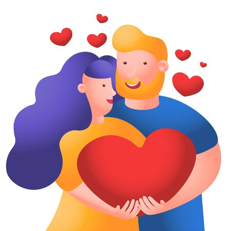 Man and woman couple holding big red heart. People in love. Cartoon character romantic couple. Honeymoon married people. Vector flat illustration