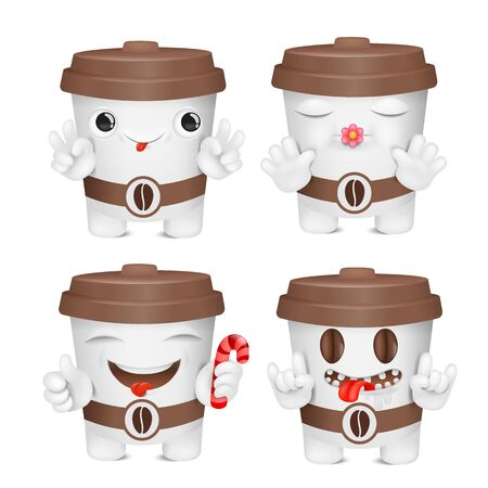 Coffee cup cartoon emoji character collection. Various emotions and gestures. Vector collection 일러스트