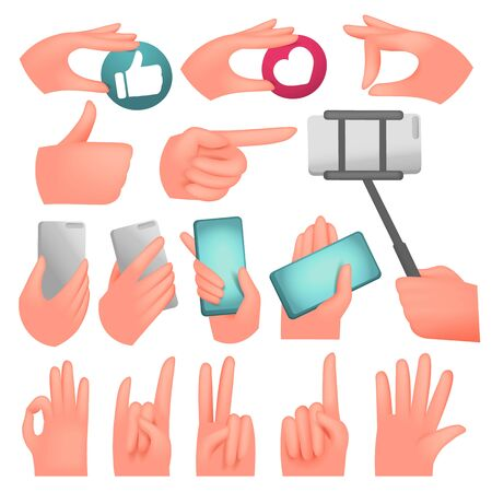 Human hands collection, various gestures, signals and signs. Vector icon set 일러스트