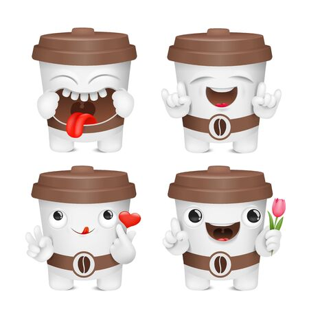 Coffee cup cartoon emoji character collection. Various emotions and gestures. Vector sticker collection 일러스트