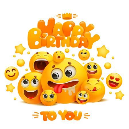 Happy birthday greeting card template with group of emoji cartoon yellow smile characters. Vector illustration