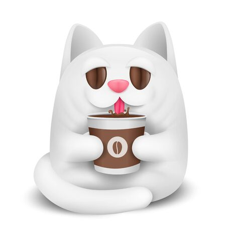 White cat cartoon character drinking coffee. Paper cup in hands. Coffee beans eye. Good morning. Vector illustration