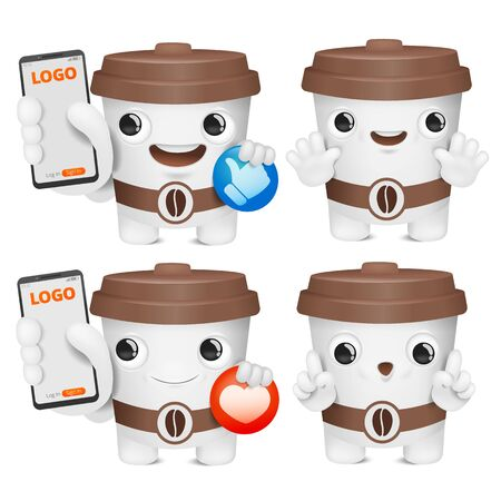 Coffee cup cartoon emoji character collection. Various emotions and gestures. Social netowrk symbols.. Vector illustration