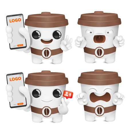 Coffee cup cartoon emoji character collection. Various emotions and gestures. Smartphone template. Vector illustration