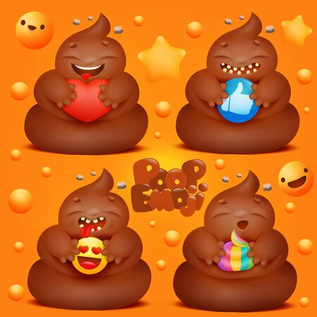 Set of cartoon poop emoji characters with various signs in hands