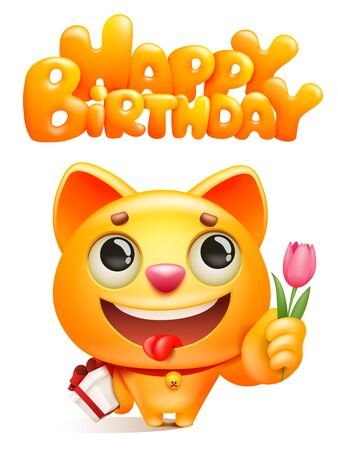 Yellow cat cartoon character with gift box and tulip flower. Happy birthday greeting card template