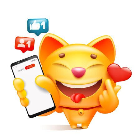 Yellow cat cartoon character with phone in hand making k-pop sign