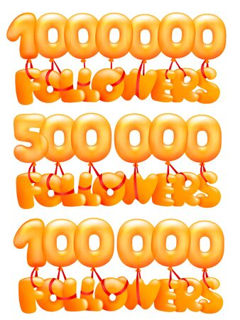 1000000 Followers concept card with letters flying on balloons.