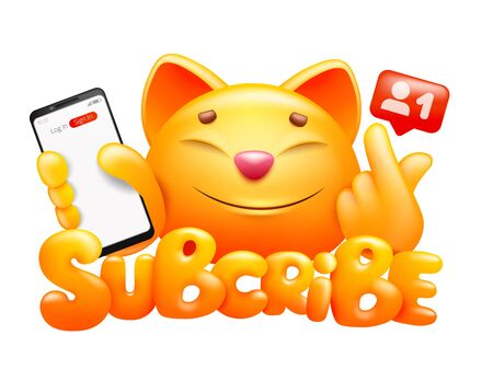 Subscribe button with funny cartoon yellow cat character with smartphone