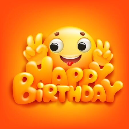Happy birthday card with emoji cartoon character. Yellow background 일러스트