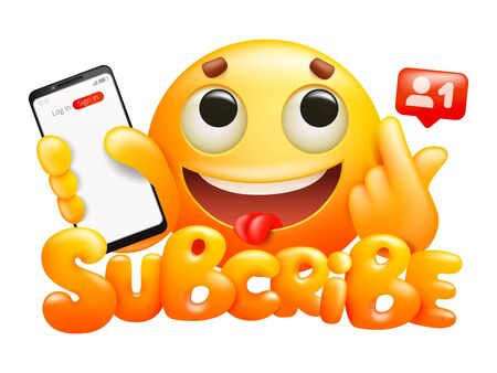 Subscribe button with yellow cartoon emoji smile character and smartphone