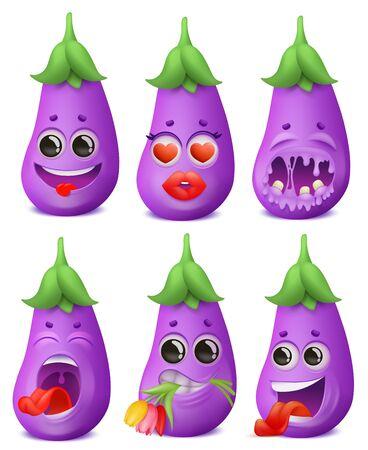Eggplant emoji cartoon character set. Various emotions. Funny, love, romantic, pain,