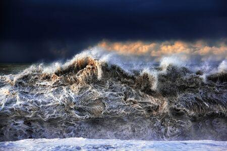 Storm on Black sea. Powerful splashing waves. Dramatic sky