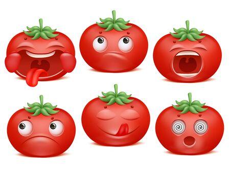 Tomato emoji cartoon character set. Various emotions. Happiness, yummy, sadness, shock shout 일러스트
