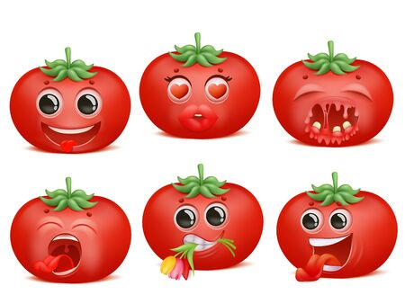 Tomato emoji cartoon character set. Various emotions. Funny, love, romantic, pain