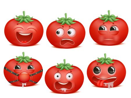 Tomato emoji cartoon character set. Various emotions. Passion, Bdsm, fear, crazy, mad insult 일러스트