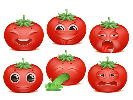 Tomato emoji cartoon character set. Various emotions. Joy, disgust, boredom, disappointment Vomiting