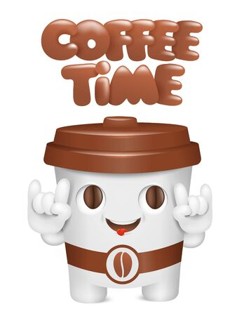 Coffee time concept card. Paper cup cartoon emoji character. Vector illustration