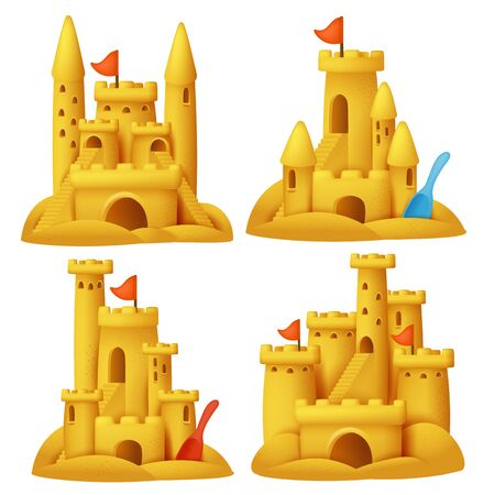 Sand castle in cartoon style set. Vacation collection. 3d objects.