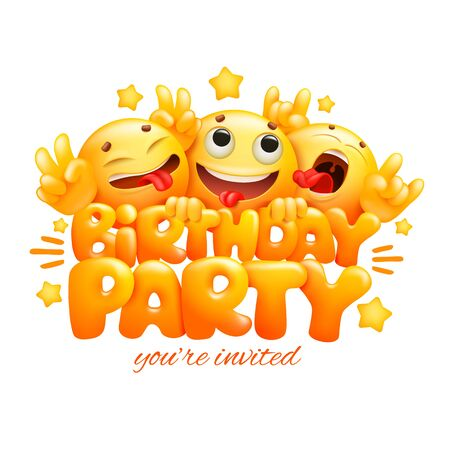 Smile yellow faces emoji cartoon characters. Birthday party card. realistic vector illustration 일러스트