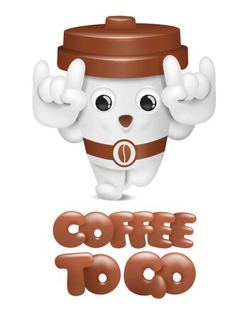 Cartoon coffee cup cute character. Take away coffee 3d card. Vector illustration 일러스트