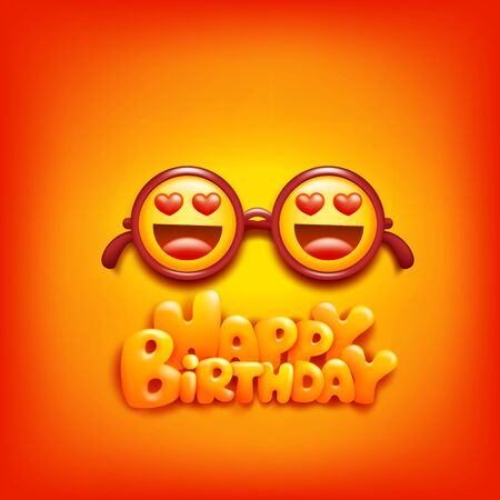 Round glasses with emoji yellow face signs concept. Happy birthday card. Vector illustration