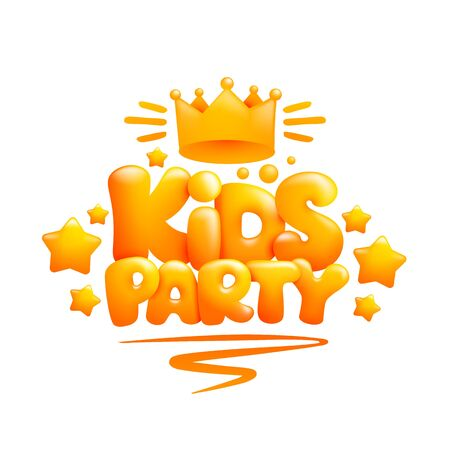 Kids Party title design template in 3d cartoon style 일러스트