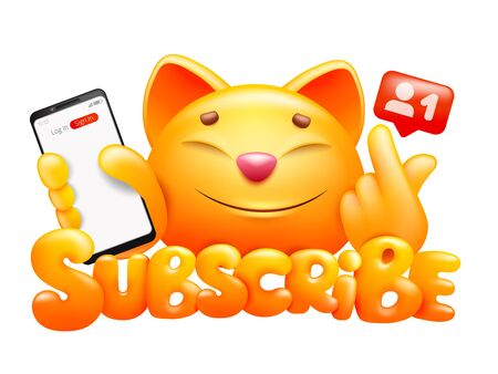 Subscribe button with funny cartoon yellow cat character making k-pop gesture sign with smartphone. Vector illustration