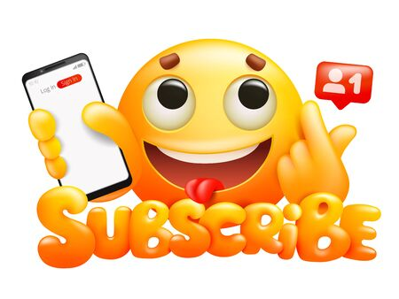 Subscribe button with yellow cartoon emoticon smile character and smartphone. Vector illustration