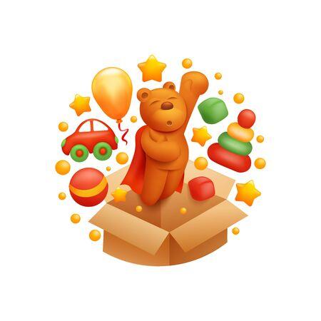 Decorative kids toys composition. Logo concept. Flying teddy bear, car, balloon, ball, pyramid, brown box 일러스트