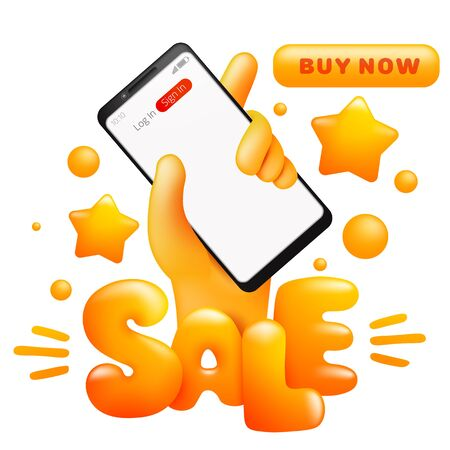 Sale card template with cartoon yellow hand holding smart phone. Online shopping. Buy now button. Vector illustration 일러스트