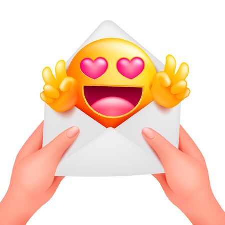 Romantic message with yellow emoji cartoon character. Love envelope in female hands Vector illustration on white background.