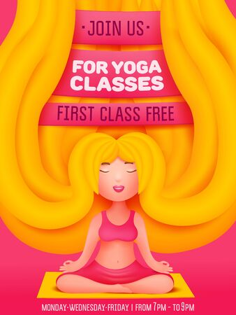 Yoga classes invitation flyer card with young blonde woman. Cartoon style