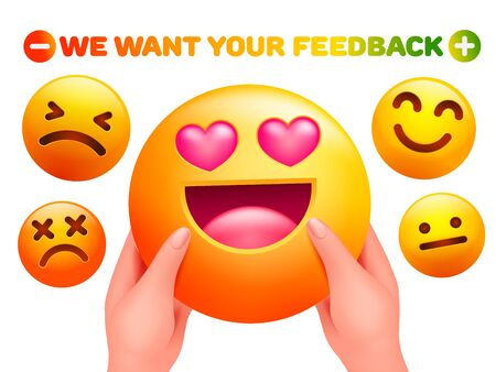 We want your feedback. Emoji character sticker in human hands. 3d cartoon style.