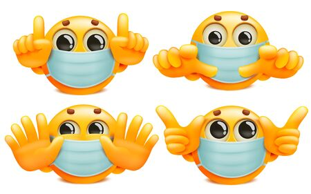 A set of yellow round emoji characters in white medical masks. Cartoon style collection. Vector illustration 일러스트