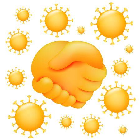 No handshake icon in 3d cartoon style. Coronavirus protection. Vector illustration