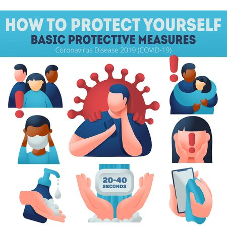 Coronavirus COVID-19 preventions. Explaining protection measures. Infographics banner, wear face mask, wash hands, desinfect. Transnational multiethnical.