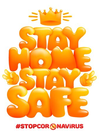 Stay home stay safe. Home quarantine self isolation poster in cartoon style. Vector illustration