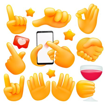 Set of various emoji yellow hand icons with wineglass, smartphone different gestures. 3d cartoon style. Vector illustration 일러스트