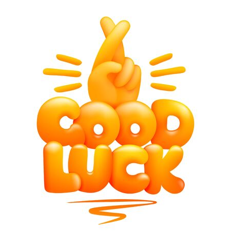 Good luck sign yellow emoji hand with index and middle fingers crossed. 3d cartoon style. Vector illustration 일러스트
