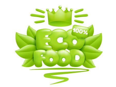 Eco food icon with green leaves and crown. 3d cartoon style. Vector illustration