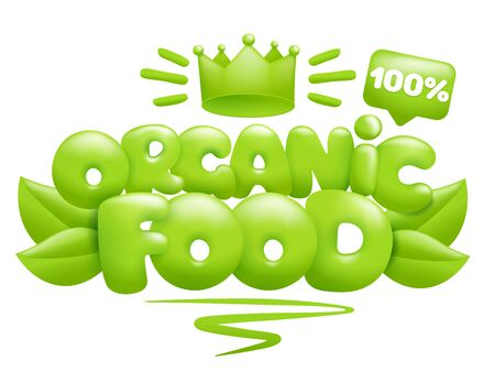 Organic food icon with green leaves and crown. 3d cartoon style. Vector illustration