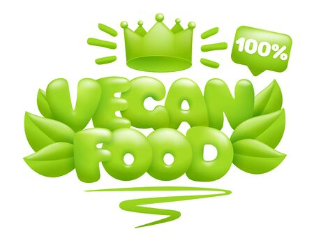 Vegan food icon with green leaves and crown. 3d cartoon style. Vector illustration