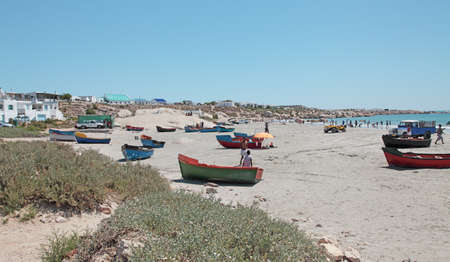 dinghies: Dinghies on beach at Paternoster on west coast of South Africa